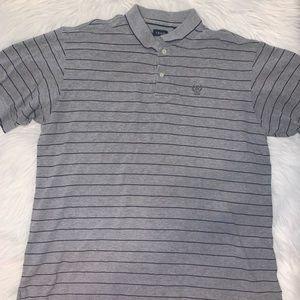 Izod men XL grey striped polo shirt A